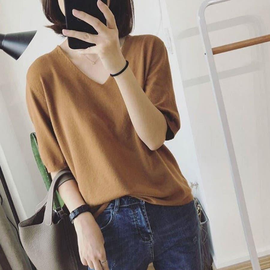 ニット レディース 半袖 Tシャツ 着痩せ 無地 韓国ファッション 人気 シンプル ゆったり 薄手 着回し フリーサイズ 41