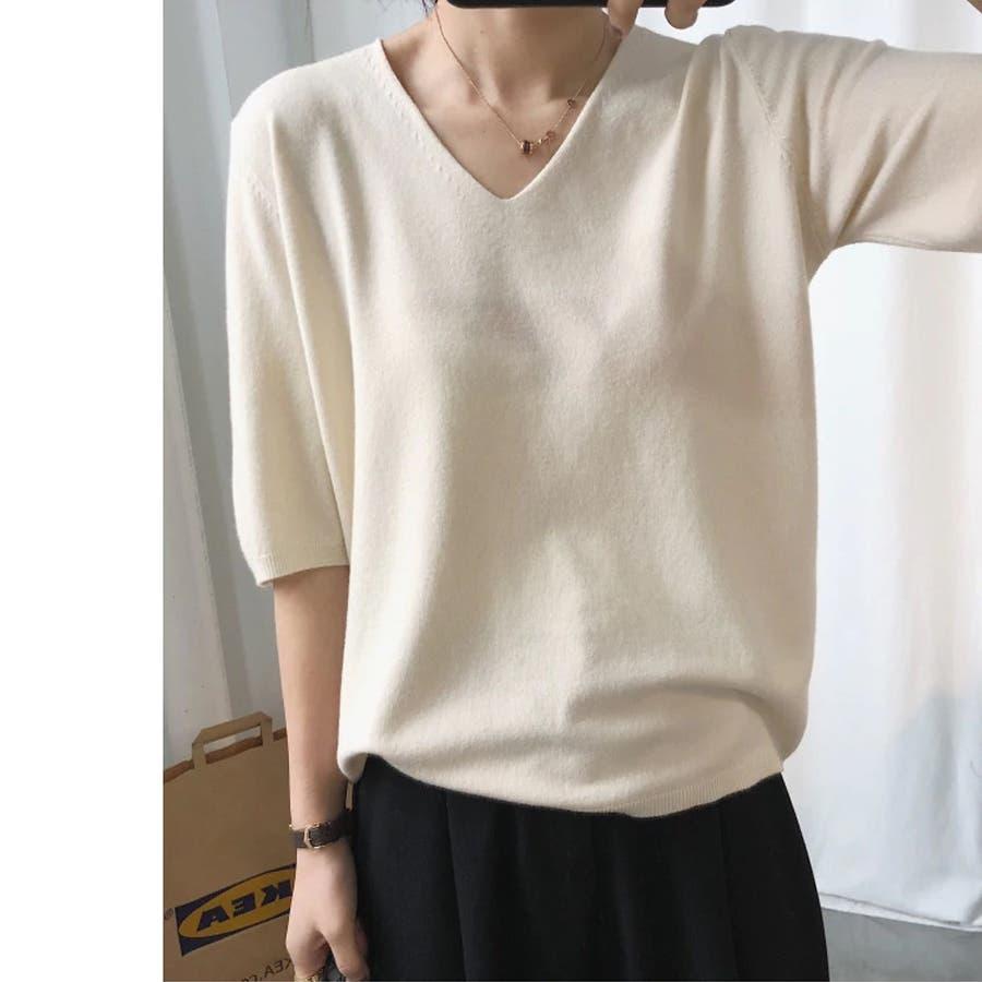 ニット レディース 半袖 Tシャツ 着痩せ 無地 韓国ファッション 人気 シンプル ゆったり 薄手 着回し フリーサイズ 18