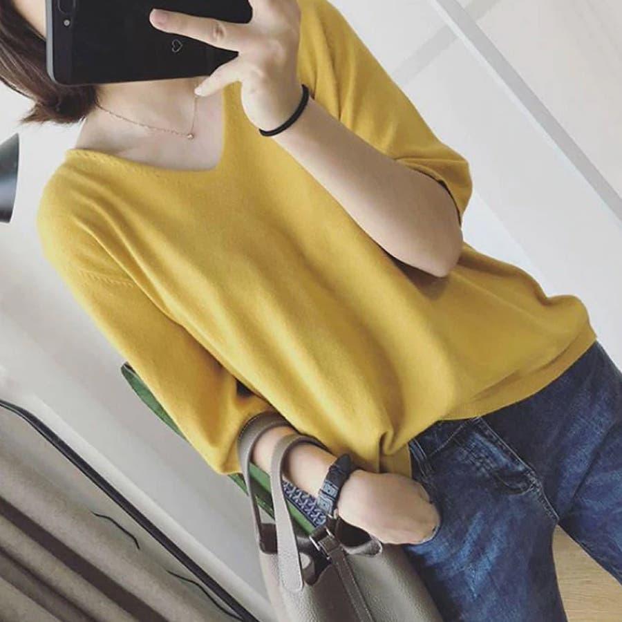 ニット レディース 半袖 Tシャツ 着痩せ 無地 韓国ファッション 人気 シンプル ゆったり 薄手 着回し フリーサイズ 83