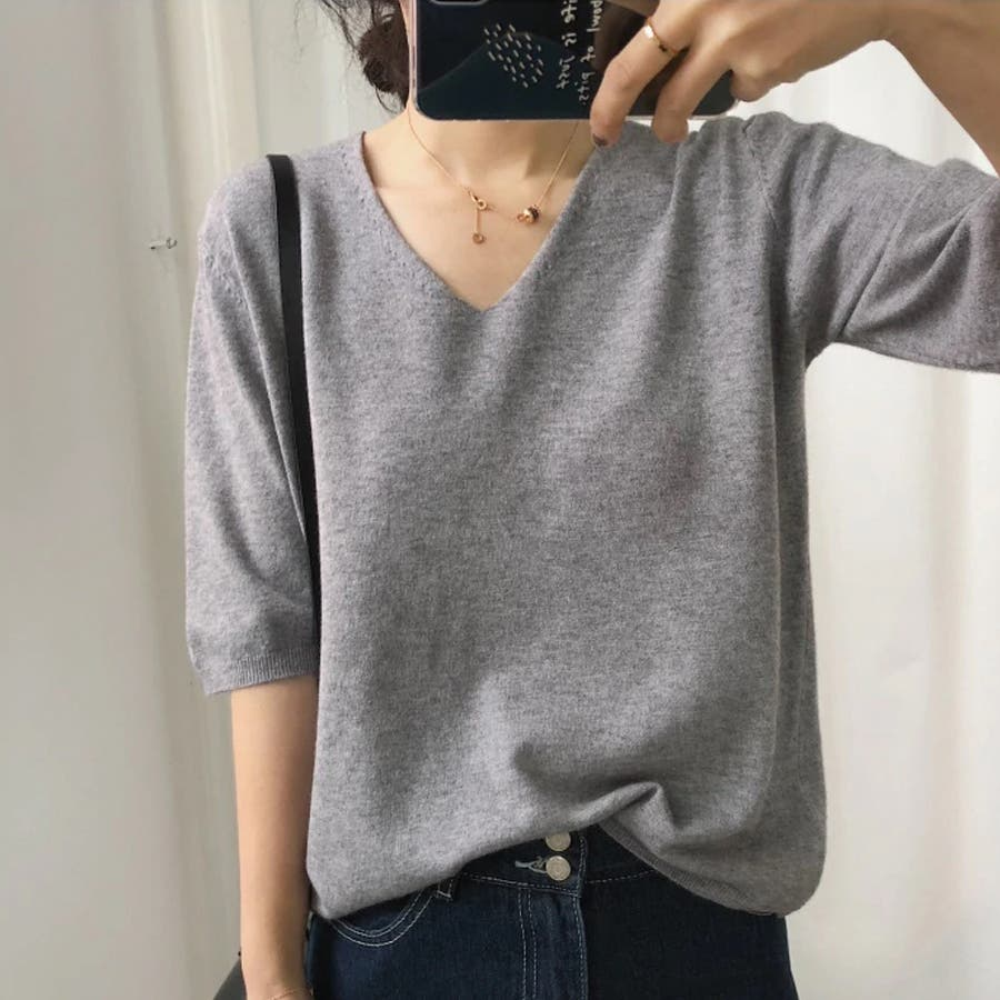 ニット レディース 半袖 Tシャツ 着痩せ 無地 韓国ファッション 人気 シンプル ゆったり 薄手 着回し フリーサイズ 1