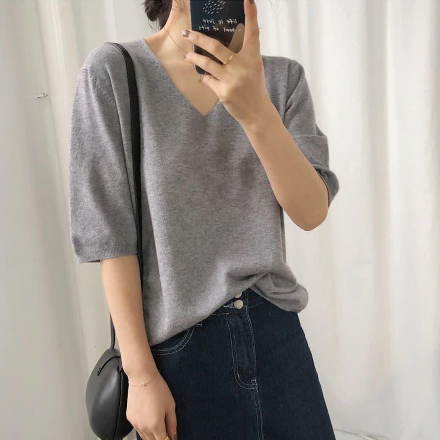 ニット レディース 半袖 Tシャツ 着痩せ 無地 韓国ファッション 人気 シンプル ゆったり 薄手 着回し フリーサイズ 23