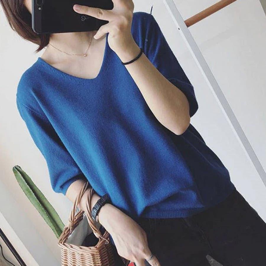 ニット レディース 半袖 Tシャツ 着痩せ 無地 韓国ファッション 人気 シンプル ゆったり 薄手 着回し フリーサイズ 59