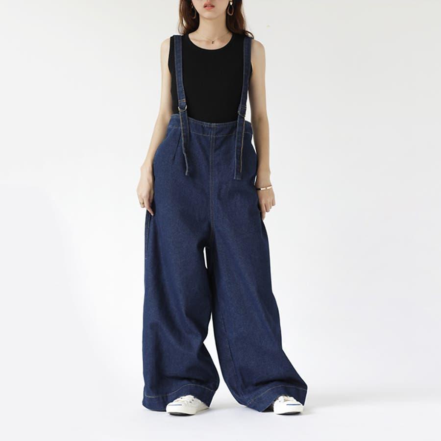 【COCOMOMO】 カジュアル デニム サロペット 可愛い レディース 韓国ファッション ゆったり 大きいサイズ ワイドパンツ 1