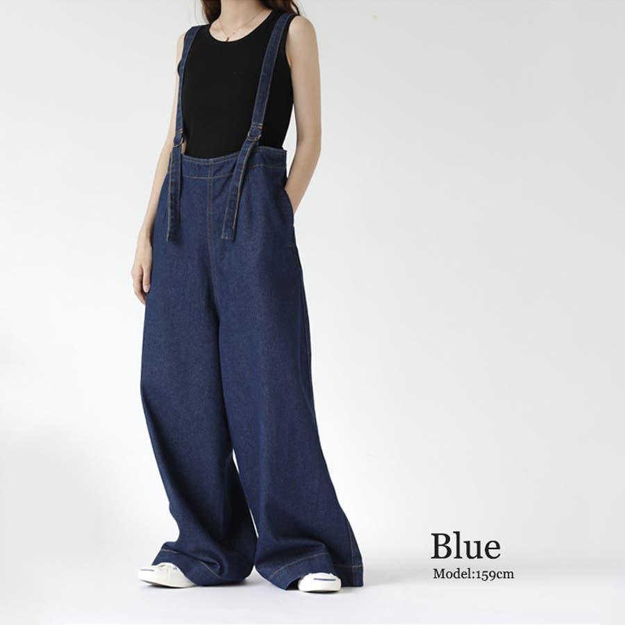 【COCOMOMO】 カジュアル デニム サロペット 可愛い レディース 韓国ファッション ゆったり 大きいサイズ ワイドパンツ 59