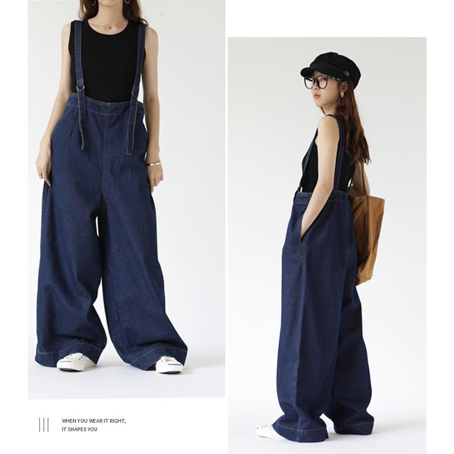 【COCOMOMO】 カジュアル デニム サロペット 可愛い レディース 韓国ファッション ゆったり 大きいサイズ ワイドパンツ 3