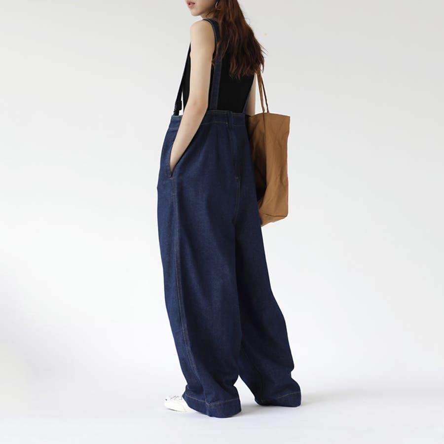 【COCOMOMO】 カジュアル デニム サロペット 可愛い レディース 韓国ファッション ゆったり 大きいサイズ ワイドパンツ 4