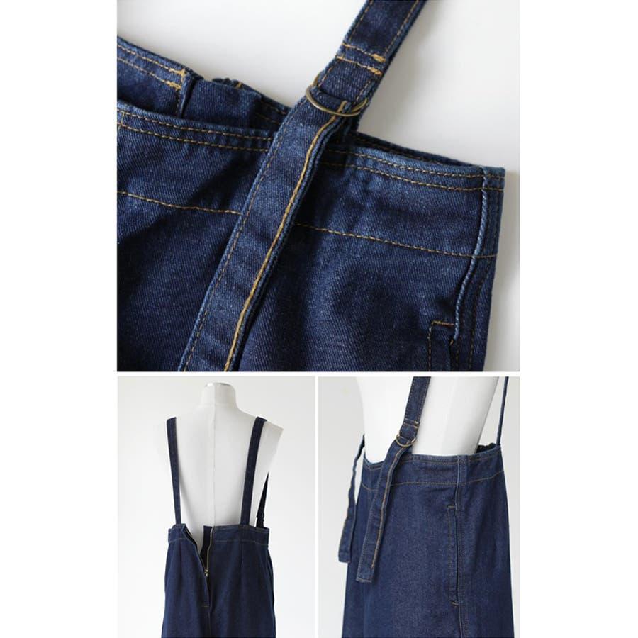 【COCOMOMO】 カジュアル デニム サロペット 可愛い レディース 韓国ファッション ゆったり 大きいサイズ ワイドパンツ 5