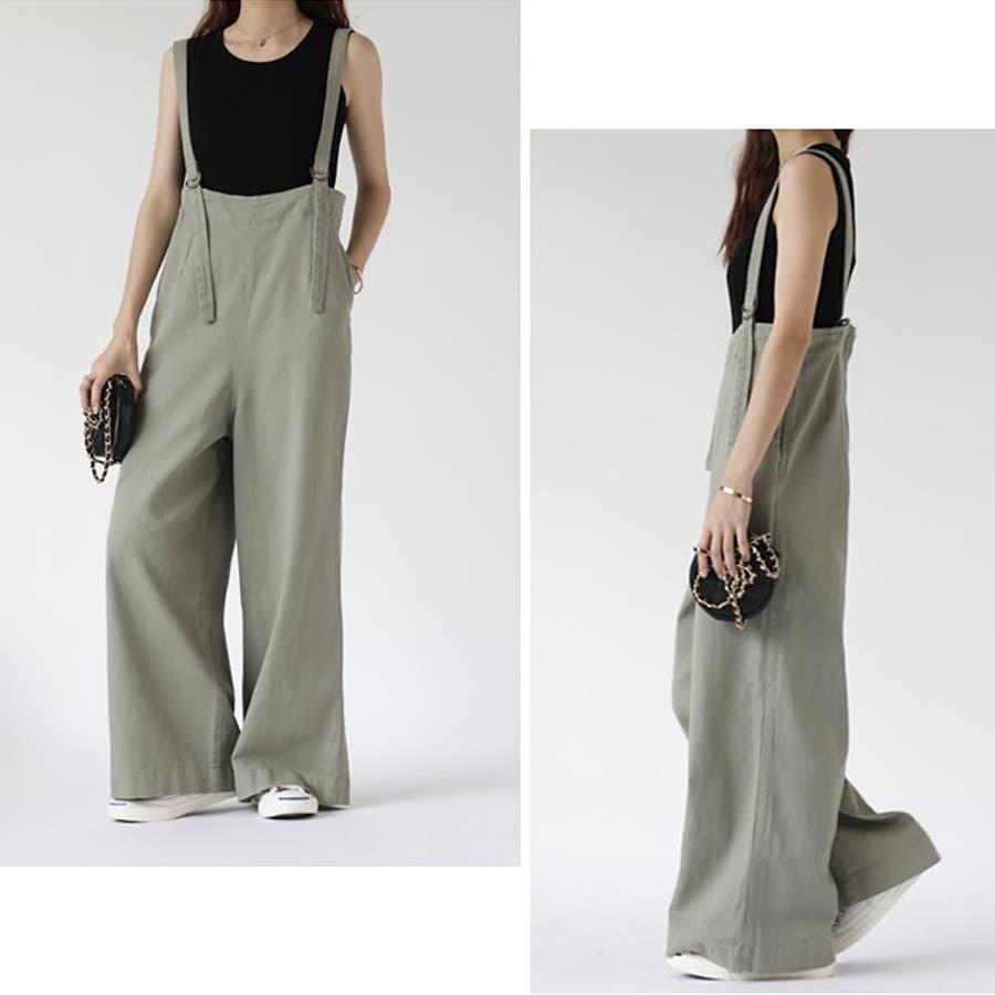 【COCOMOMO】 カジュアル デニム サロペット 可愛い レディース 韓国ファッション ゆったり 大きいサイズ ワイドパンツ 7