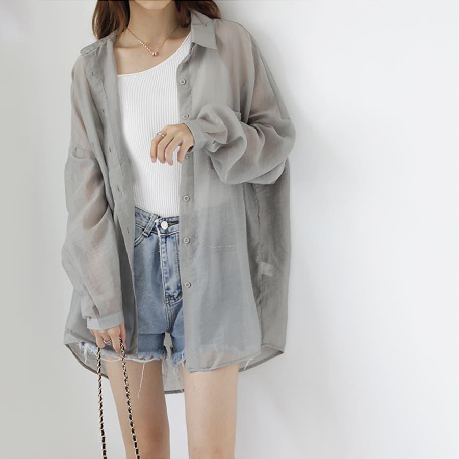 【COCOMOMO】 上品 カジュアル 焼け止め 長袖シャツ レディース 韓国ファッション 可愛い UVカット 透け感 23