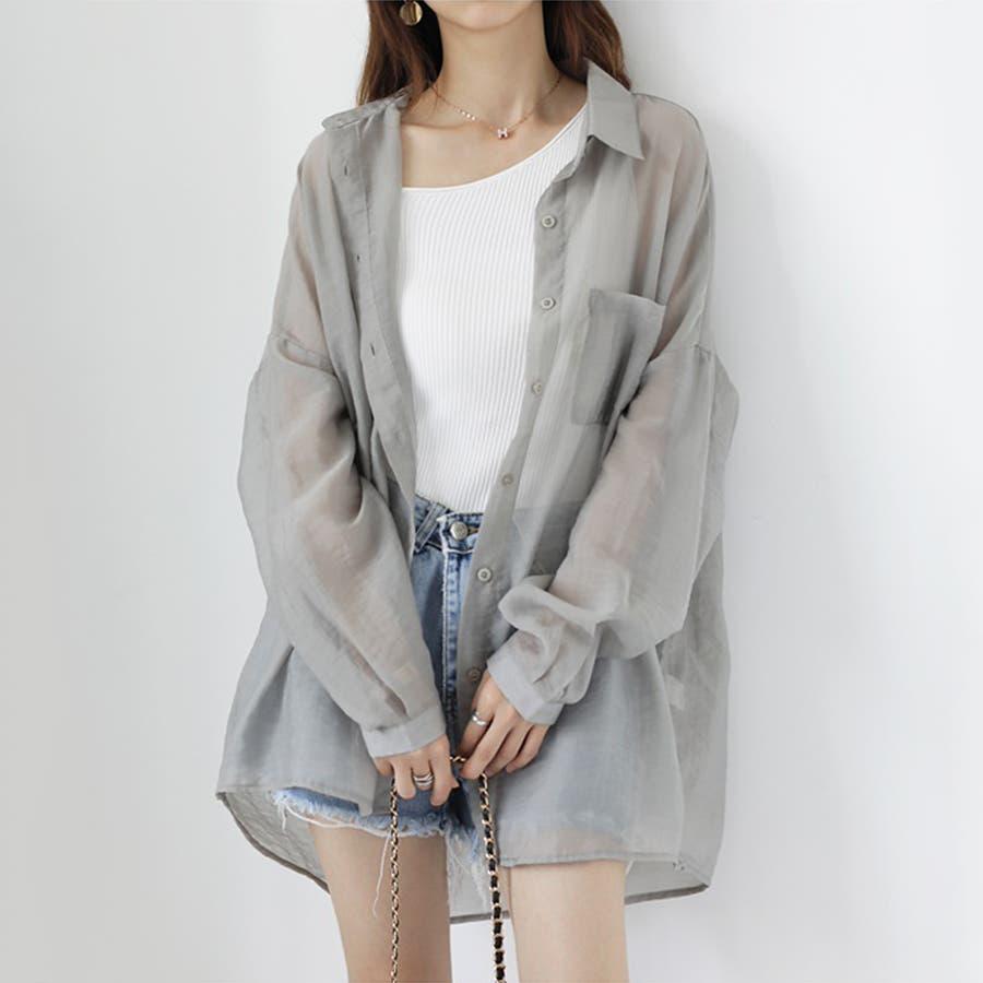 【COCOMOMO】 上品 カジュアル 焼け止め 長袖シャツ レディース 韓国ファッション 可愛い UVカット 透け感 2