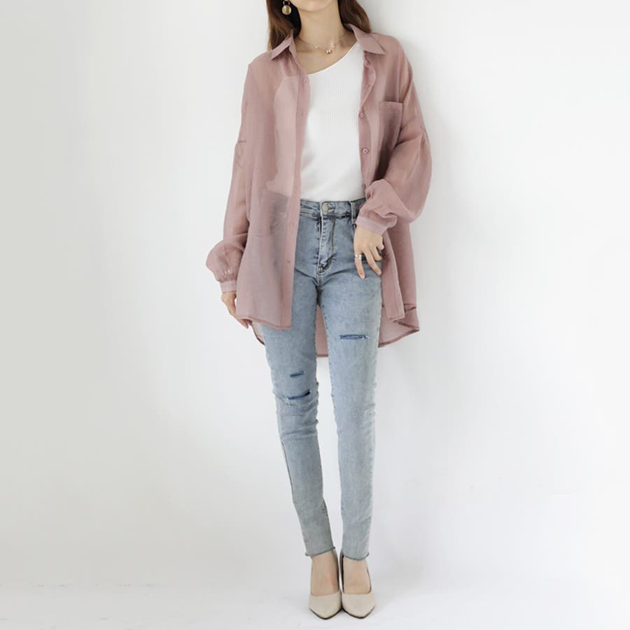 【COCOMOMO】 上品 カジュアル 焼け止め 長袖シャツ レディース 韓国ファッション 可愛い UVカット 透け感 4