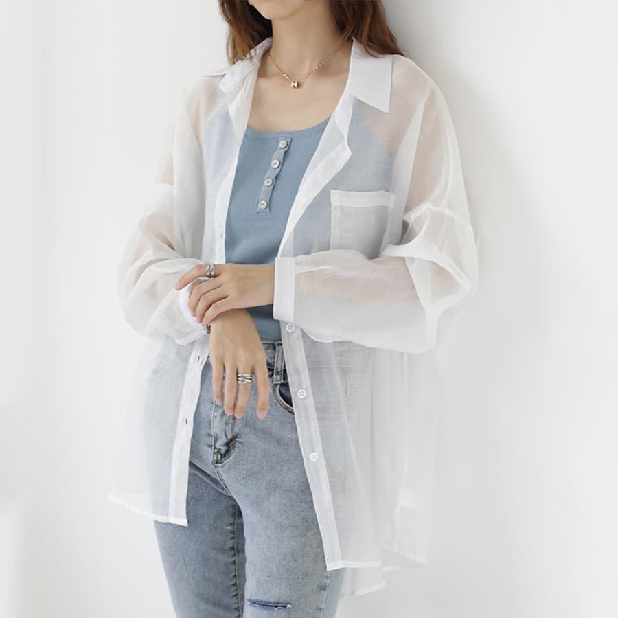 【COCOMOMO】 上品 カジュアル 焼け止め 長袖シャツ レディース 韓国ファッション 可愛い UVカット 透け感 16