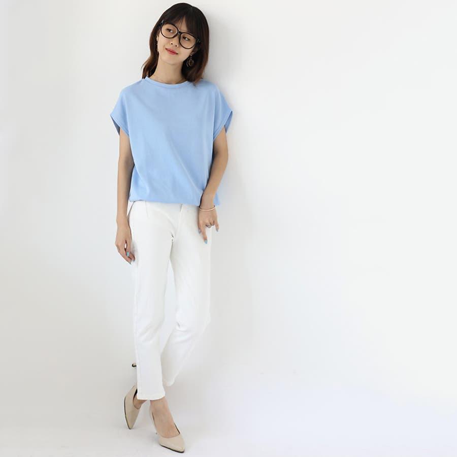 【COCOMOMO】2TYPE!!クールネック/Vネック カットソー レディース 韓国ファッションカジュアル 無地 半袖 トップス可愛い 7