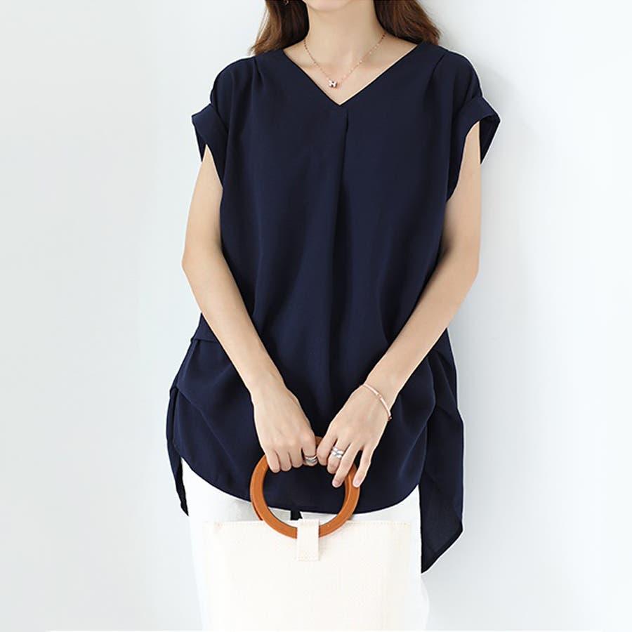 バックデザイン シャツ 韓国ファッション レディース 無地 オシャレ Vネック トップス カジュアル 64