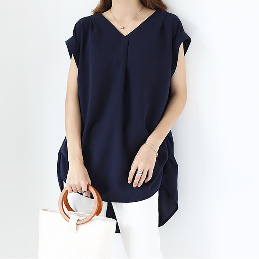 バックデザイン シャツ 韓国ファッション レディース 無地 オシャレ Vネック トップス カジュアル 2