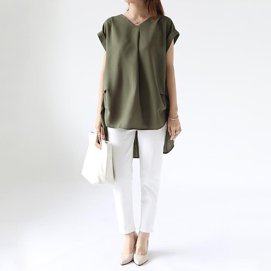 バックデザイン シャツ 韓国ファッション レディース 無地 オシャレ Vネック トップス カジュアル 3