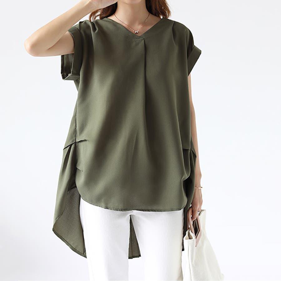 バックデザイン シャツ 韓国ファッション レディース 無地 オシャレ Vネック トップス カジュアル 53