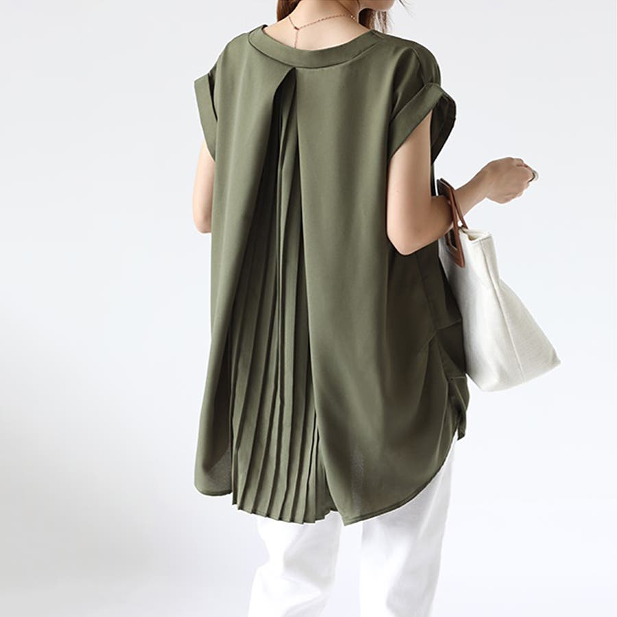 バックデザイン シャツ 韓国ファッション レディース 無地 オシャレ Vネック トップス カジュアル 5