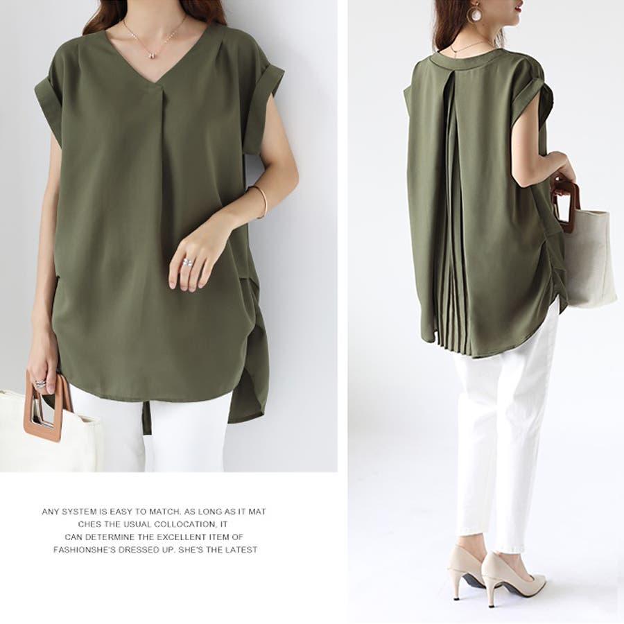 バックデザイン シャツ 韓国ファッション レディース 無地 オシャレ Vネック トップス カジュアル 6