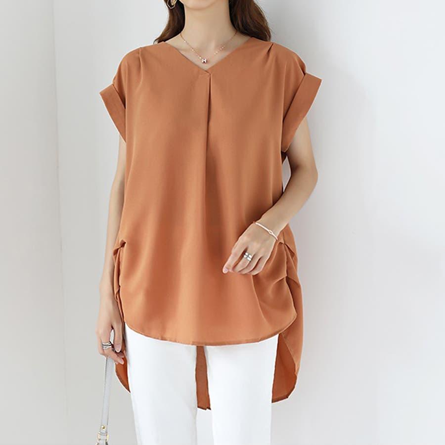 バックデザイン シャツ 韓国ファッション レディース 無地 オシャレ Vネック トップス カジュアル 99
