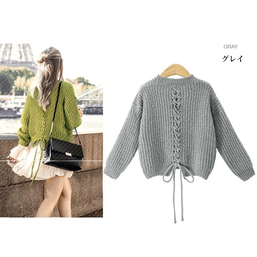 ざっくり編み ニット バック編み セーター 秋冬 韓国 23