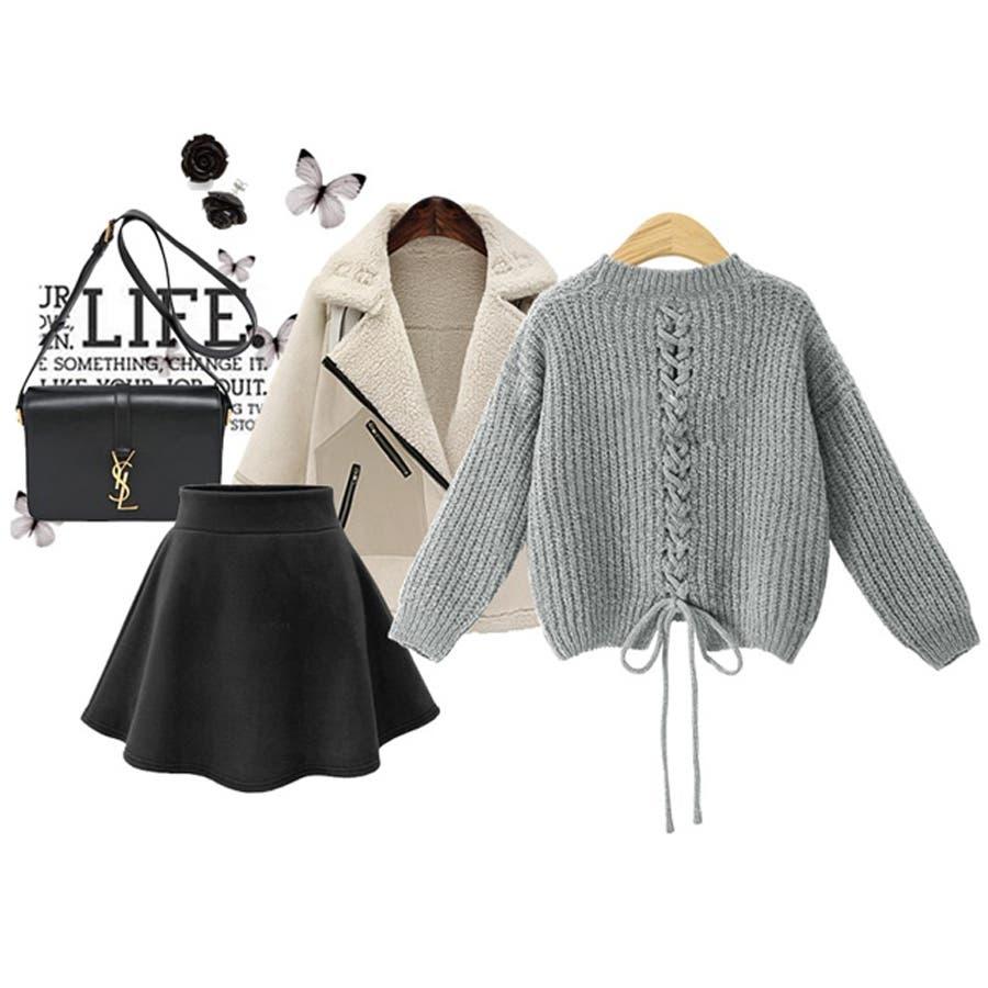 ざっくり編み ニット バック編み セーター 秋冬 韓国 7
