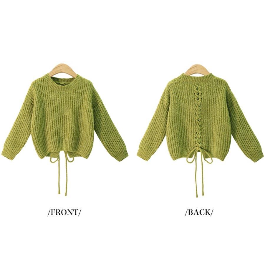 ざっくり編み ニット バック編み セーター 秋冬 韓国 8