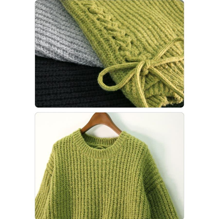 ざっくり編み ニット バック編み セーター 秋冬 韓国 9