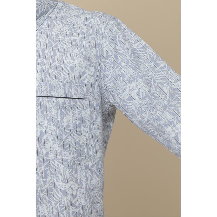 プリントフラワーストライプ7分袖シャツ 8