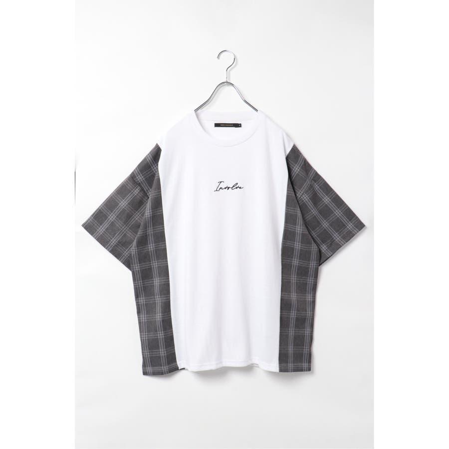 チェック切り替えTシャツ 16