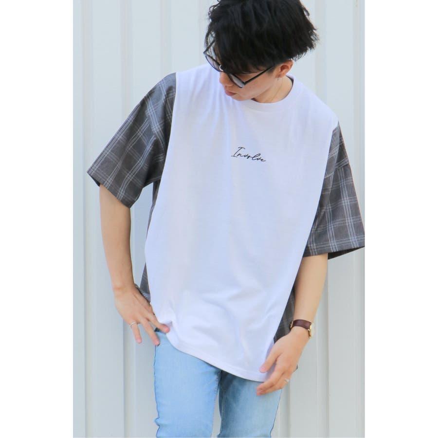 チェック切り替えTシャツ 1