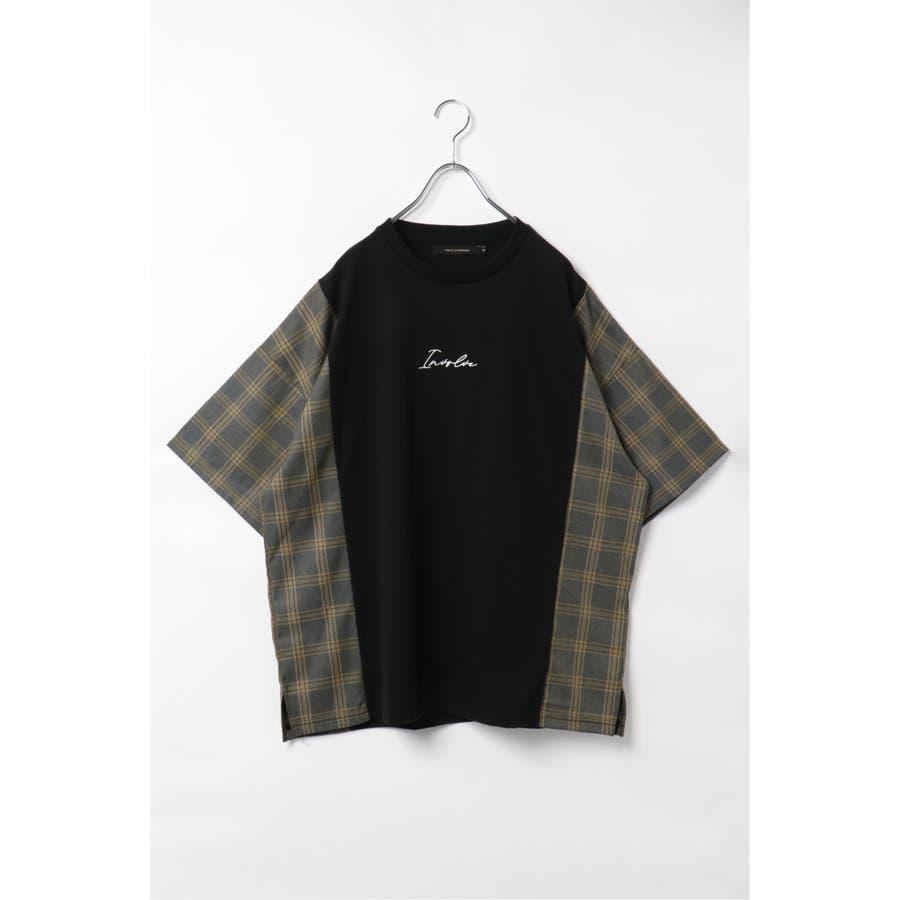チェック切り替えTシャツ 21