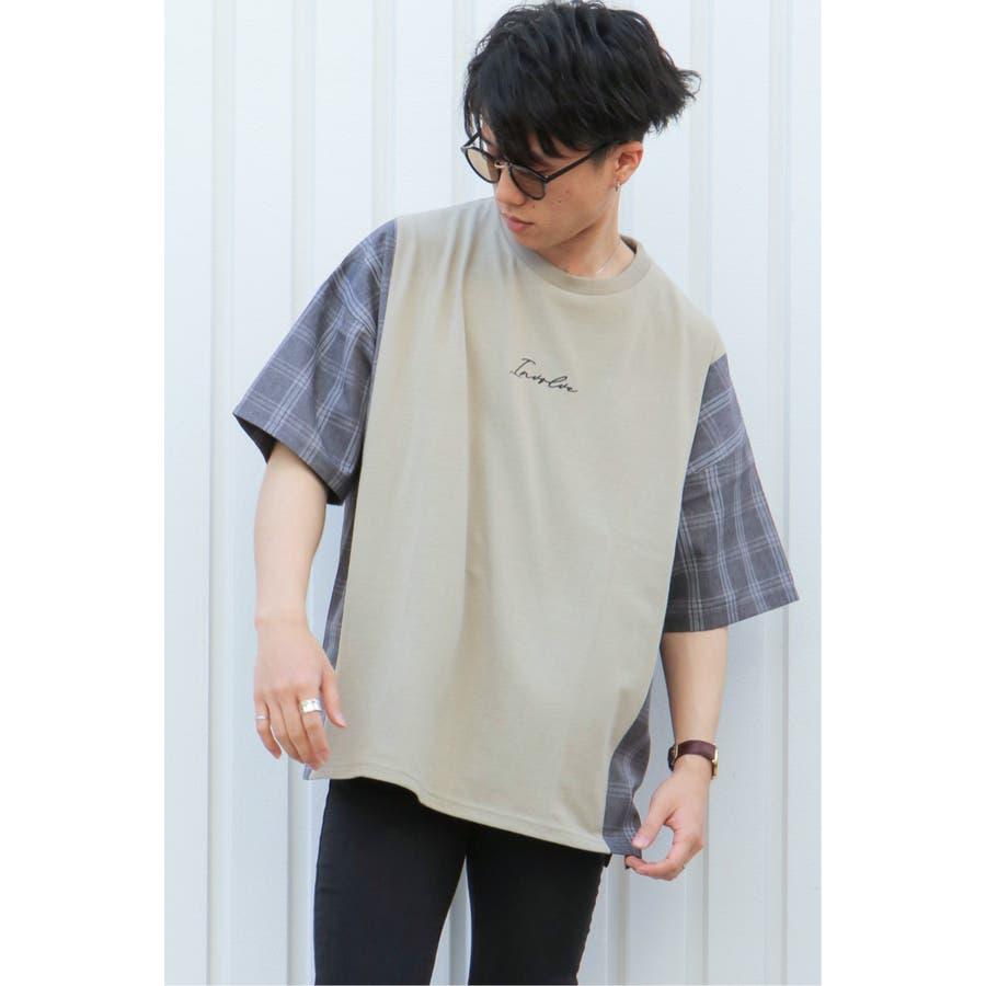 チェック切り替えTシャツ 3