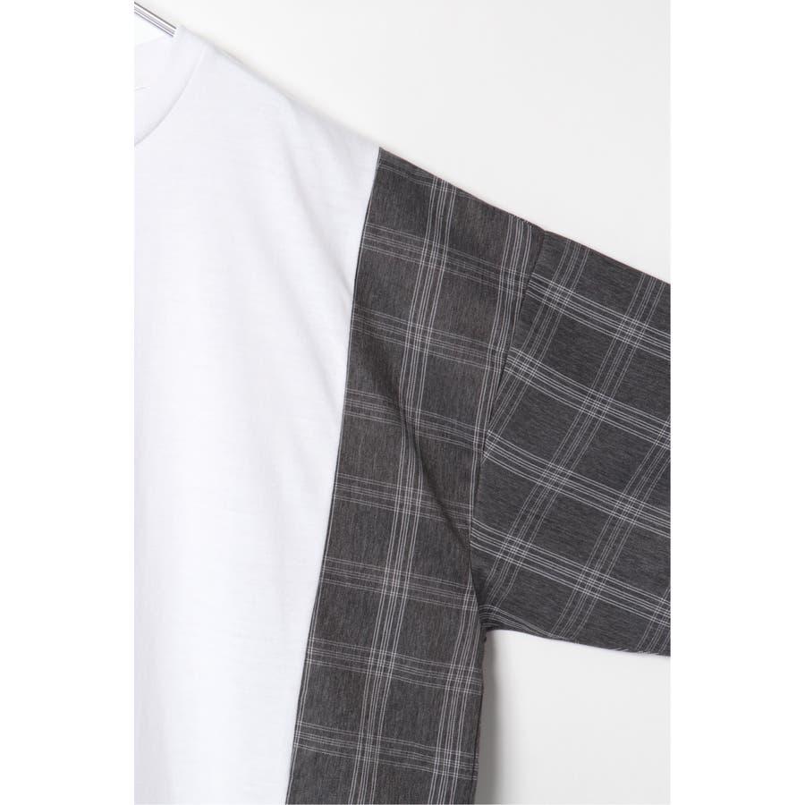 チェック切り替えTシャツ 7