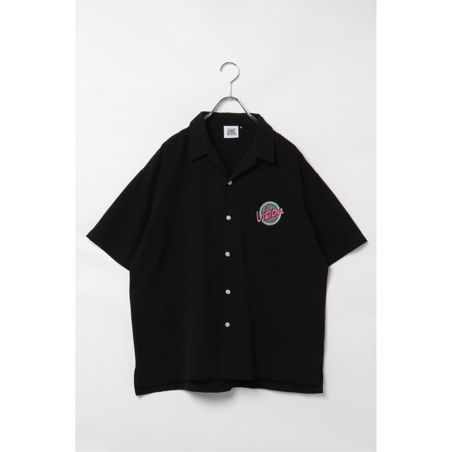 VISION サークルロゴ刺繍開襟シャツ 21
