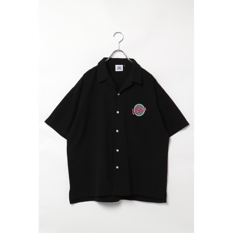 VISION サークルロゴ刺繍開襟シャツ 1