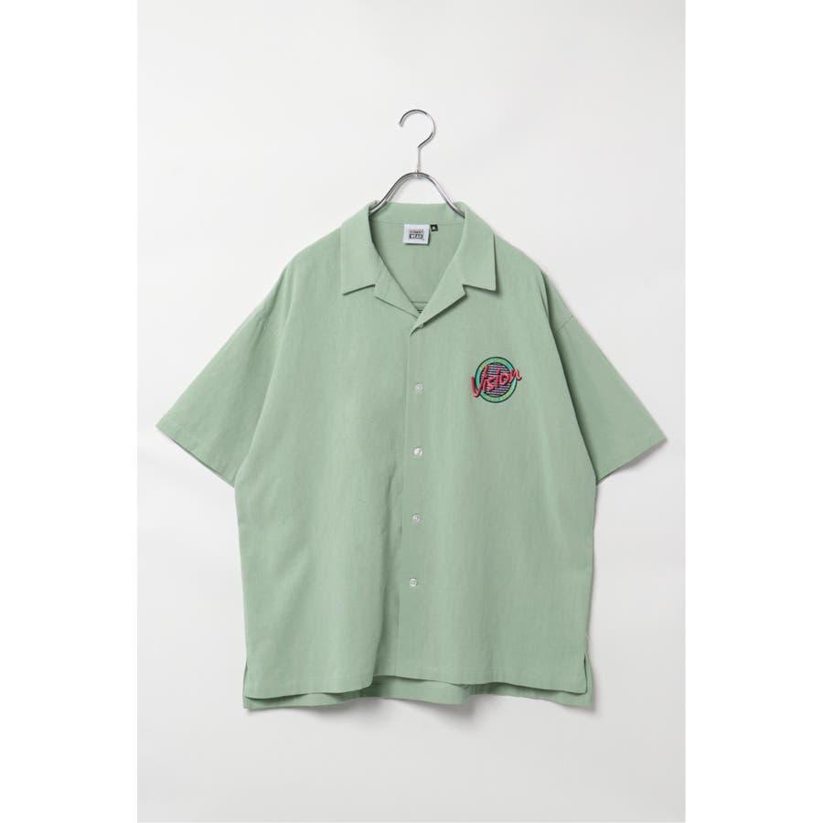 VISION サークルロゴ刺繍開襟シャツ 50