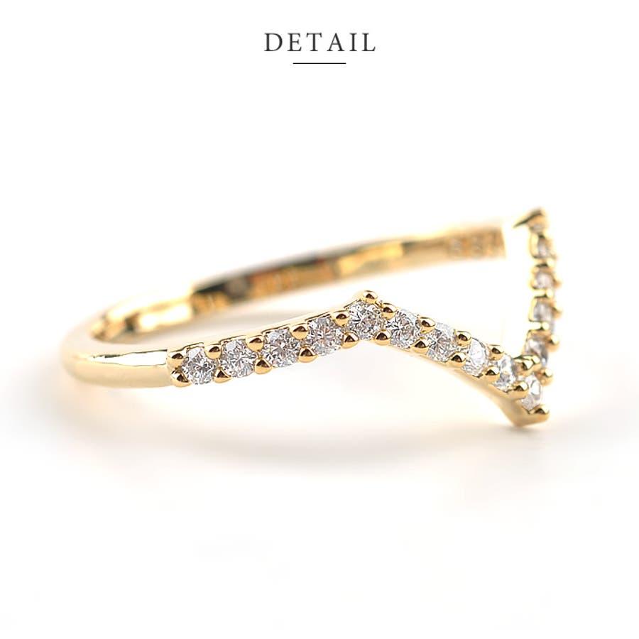 リング 指輪 アクセサリー V字 ジルコニア シンプル 銀 シルバー 金 ゴールド デイリー 結婚式 カジュアル 小物
