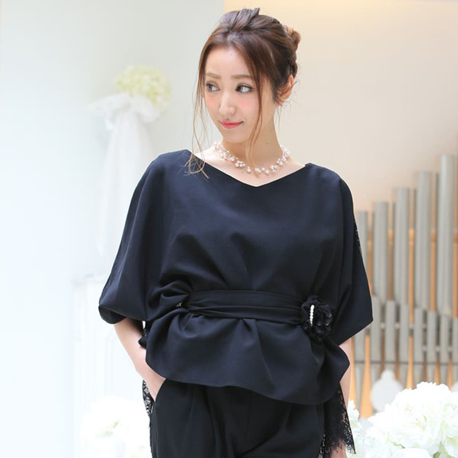 パンツドレス 結婚式 パーティードレス パンツ 大きいサイズ ドレス ワンピース パーティー 半袖 長袖袖あり