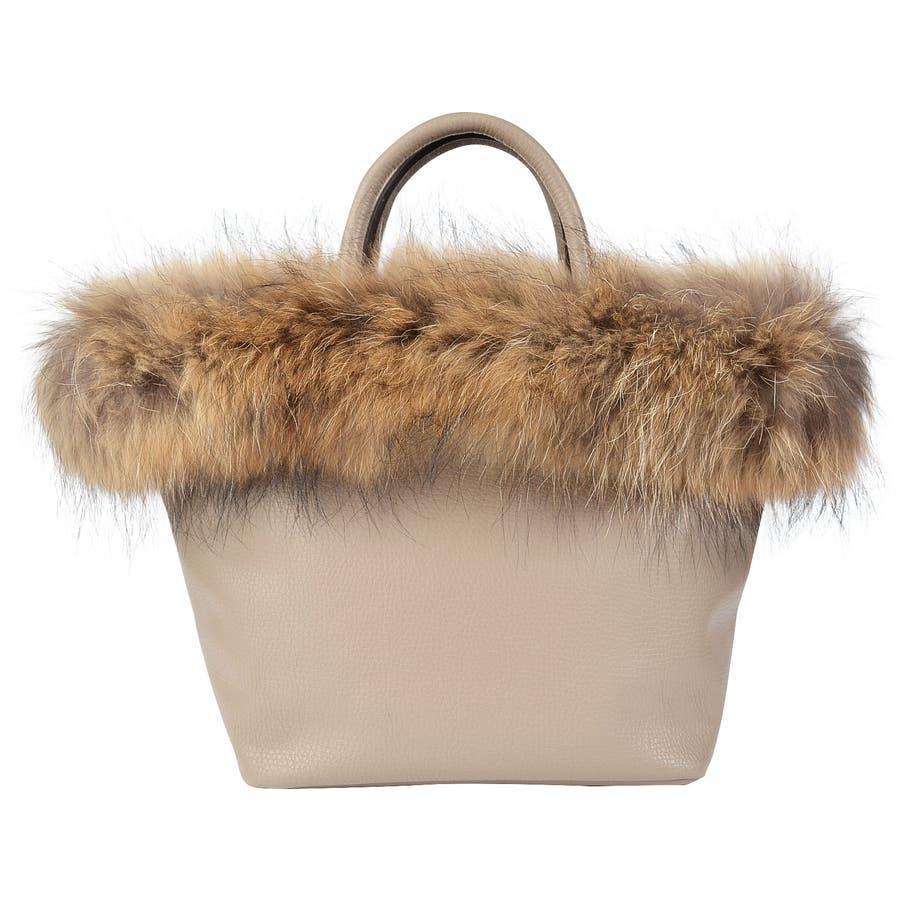 (ラクーンリアルファー付きトートバッグ)ファーバッグ レディース トートバッグ トートバック バケツバッグ バケツ バッグ 鞄 カバンファー バック bag ラクーン 41