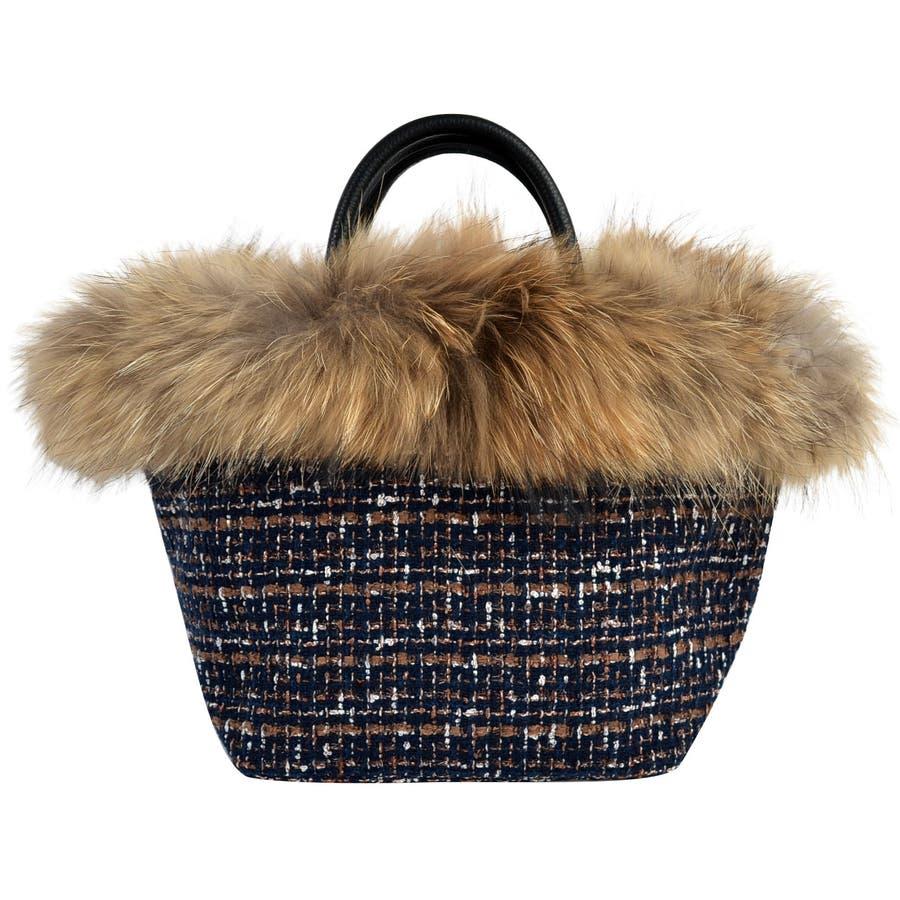 (ラクーンリアルファー付きトートバッグ)ファーバッグ レディース トートバッグ トートバック バケツバッグ バケツ バッグ 鞄 カバンファー バック bag ラクーン 108