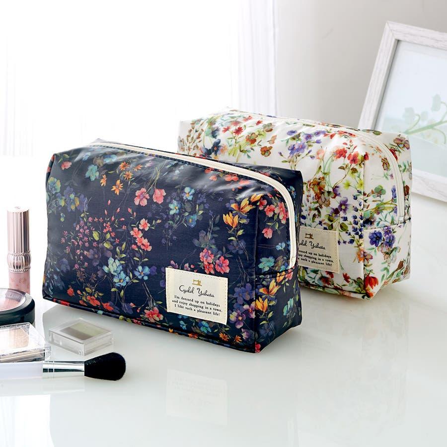 フローフロー スクエアポーチ (L) / トラベルポーチ 旅行ポーチ おしゃれ 化粧品 日本製 機能的 ギフト プレゼント 1