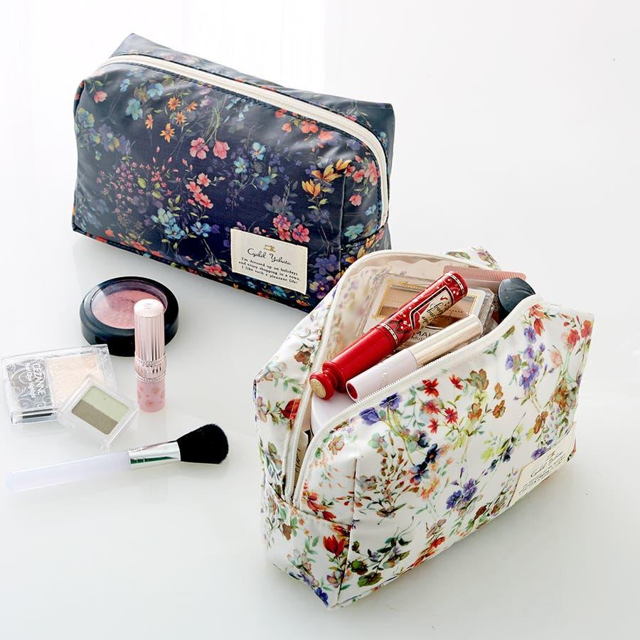 フローフロー スクエアポーチ (L) / トラベルポーチ 旅行ポーチ おしゃれ 化粧品 日本製 機能的 ギフト プレゼント 9