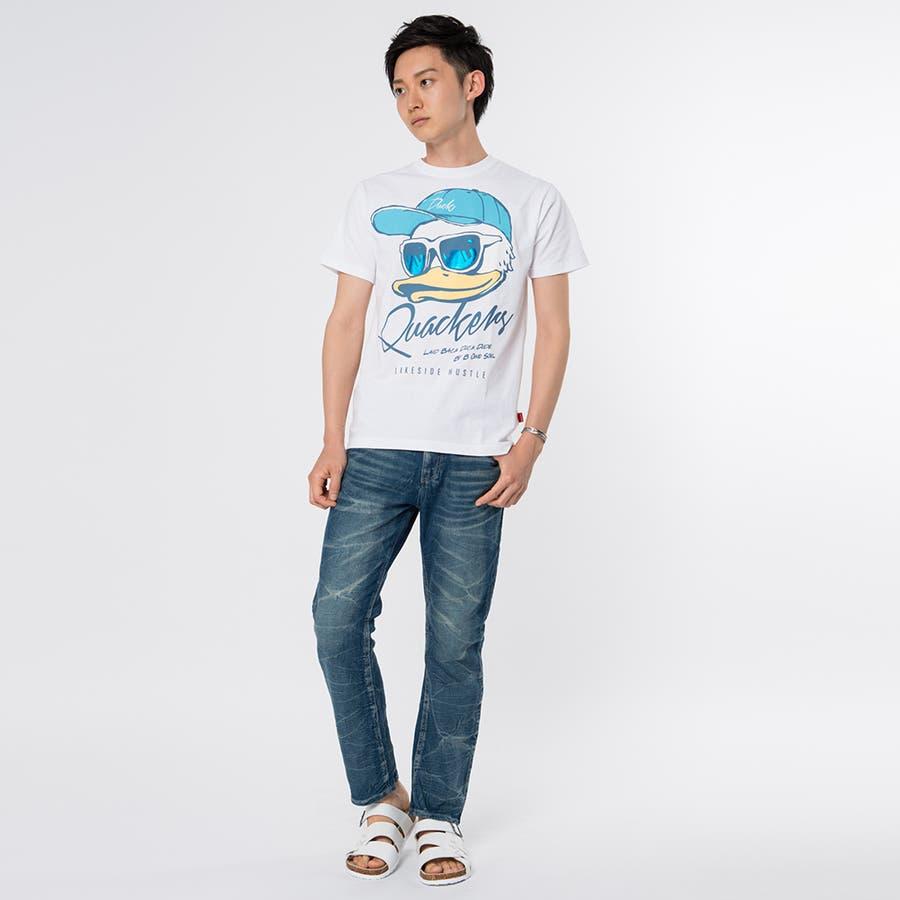 お洒落に決まる メンズファッション通販 Doublefocus  メンズ DUCKプリントTシャツ ビッグフェイス カラー 轟音