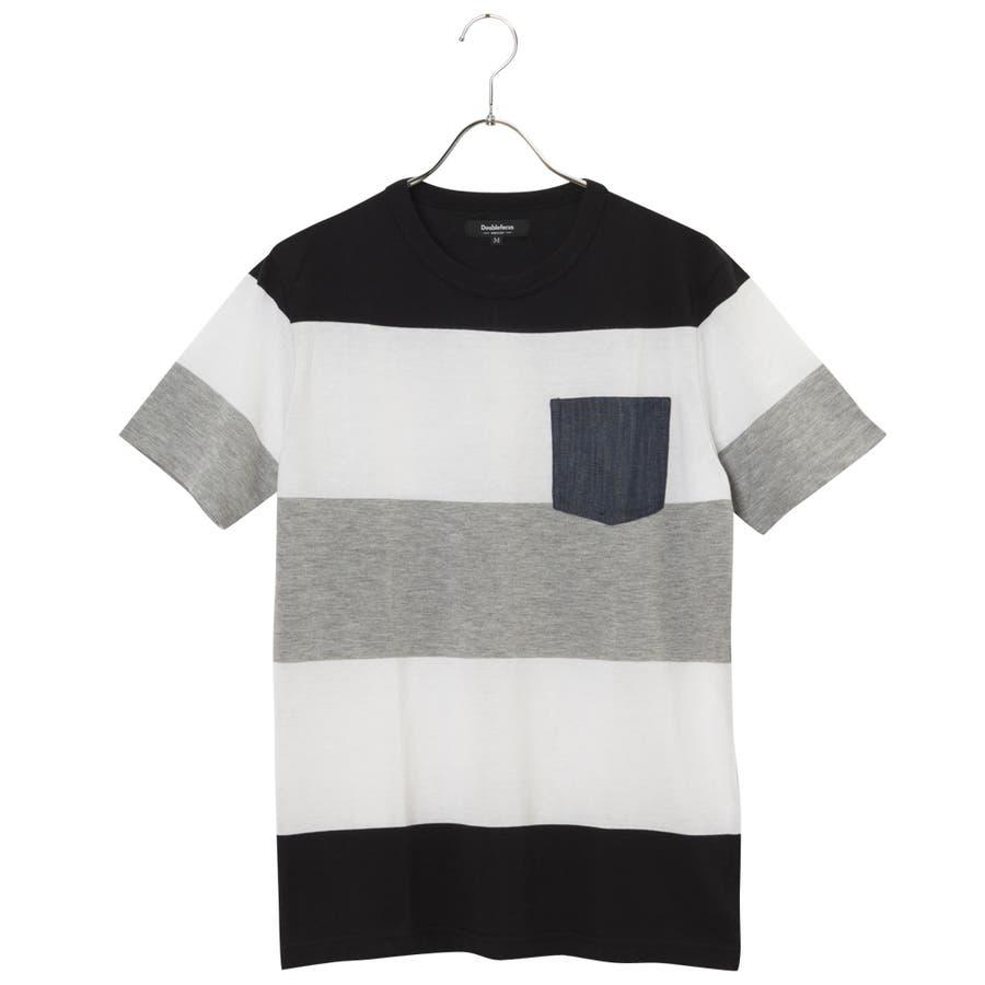 着心地が良く使える Doublefocus  メンズ パネルボーダーポケ付Tシャツ 小字