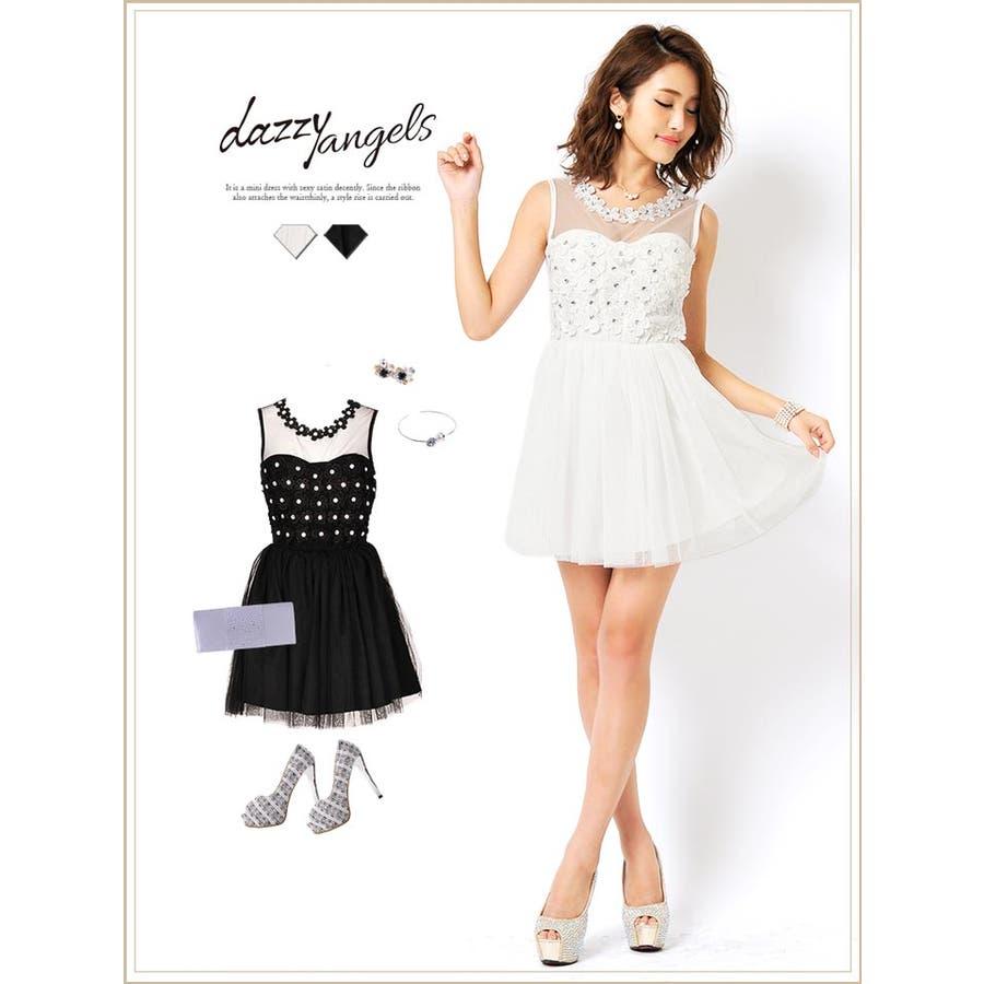 ドレス 結婚式 パーティードレスデコルテ透けフラワーデザインAラインミニドレス/フレアミニドレス
