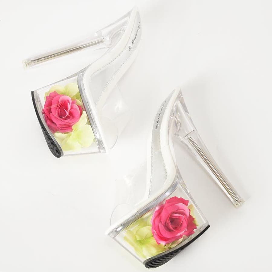 サンダル キャバ 靴 [17cmヒール]エレガントローズクリアサンダル/靴[S,