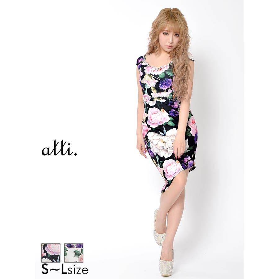 236353eb27622 キャバ ドレス キャバドレス ナイトドレス 大きいサイズ 大輪花柄アシンメトリーノースリタイトミニドレス S M L