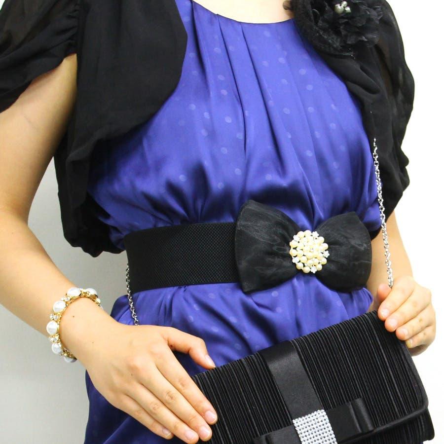 オーガンジーリボンベルトベルト リボンベルト オーガンジー ゴム素材 ドレス ドレスコード 結婚式 二次会 同窓会
