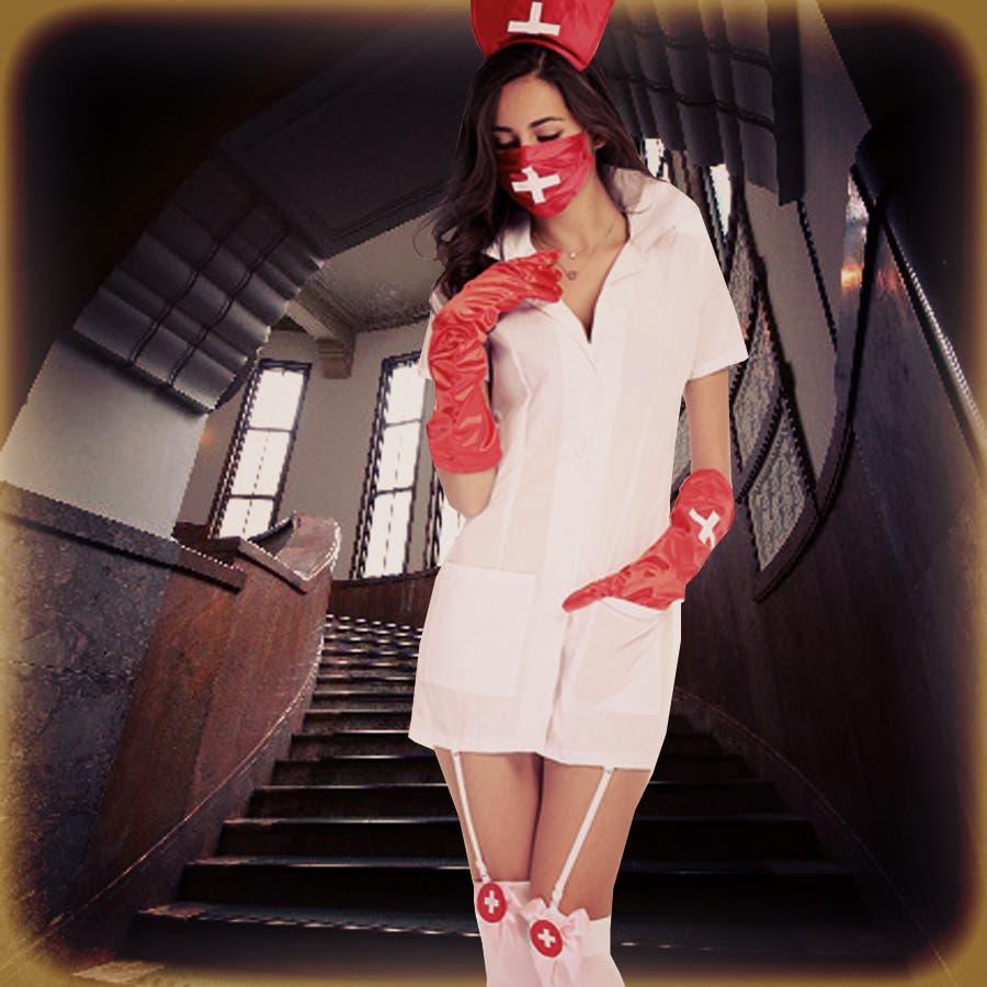 看護婦 ナース ナース服 悪魔 デビル ハロウィン レディース 女性 セクシー 仮装 衣装 コスプレ衣装 コスチューム コスプレイベント パーティー 学園祭 アニメ 漫画 ナース服 髪飾り マスク 手袋 4点セット 春 冬 春夏 春先行 3